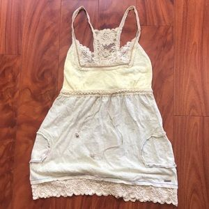 Miss Me yellow racerback lace tank